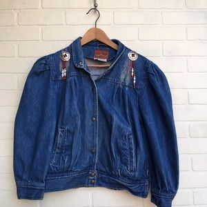 Vintage 90s Painted / Embellished Denim Jacket
